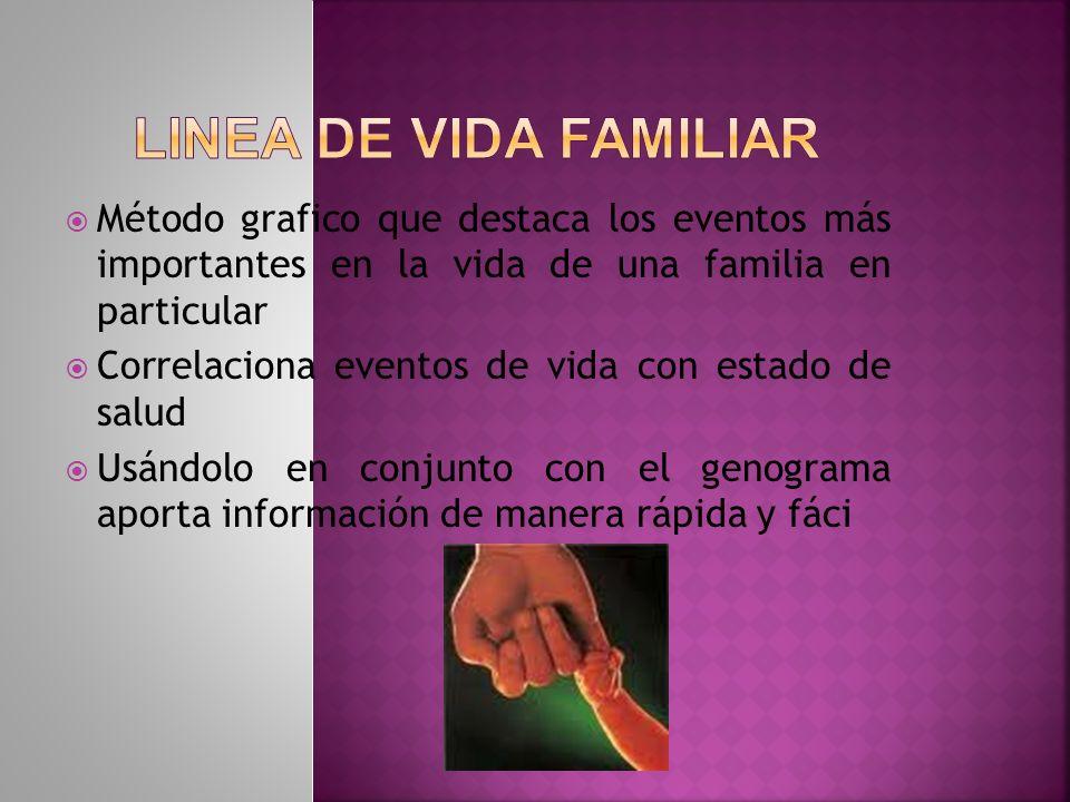 LINEA DE VIDA FAMILIAR Método grafico que destaca los eventos más importantes en la vida de una familia en particular.