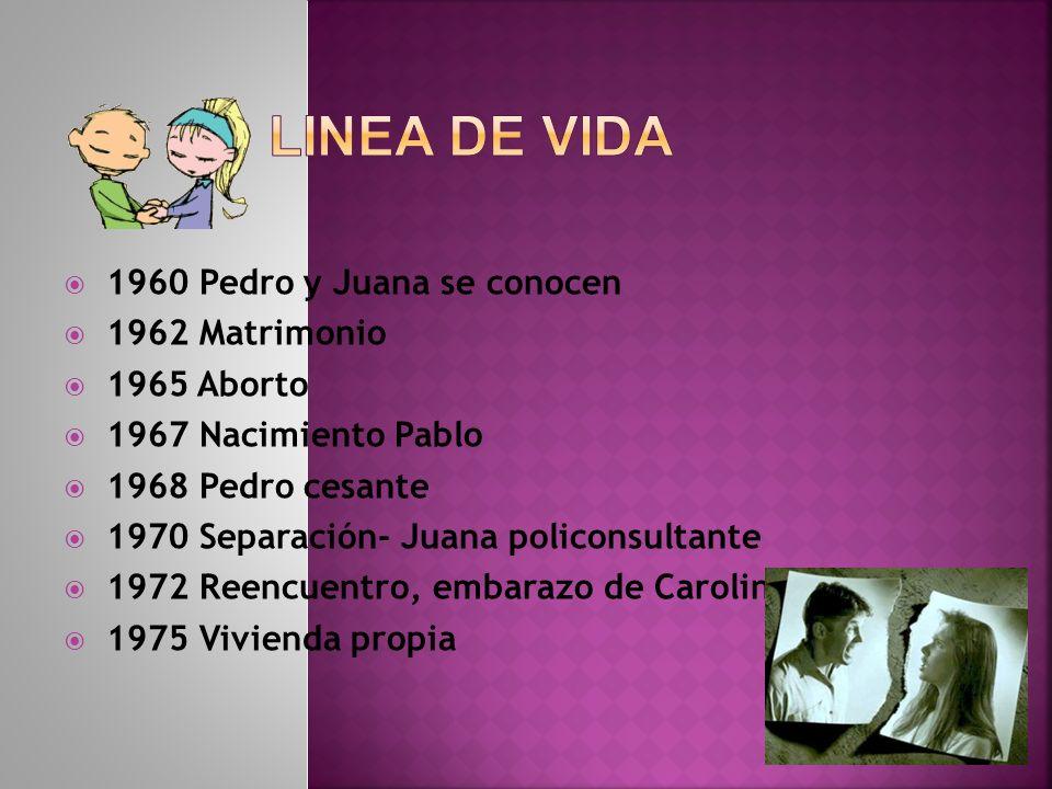 LINEA DE VIDA 1960 Pedro y Juana se conocen 1962 Matrimonio