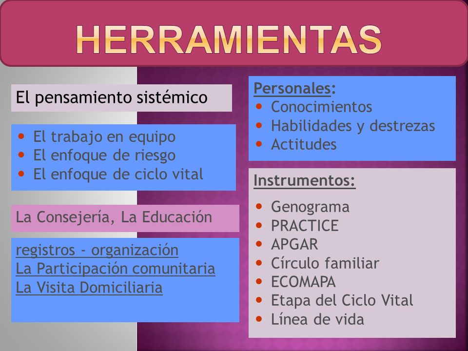 hERRaMIENTAS El pensamiento sistémico Personales: Conocimientos