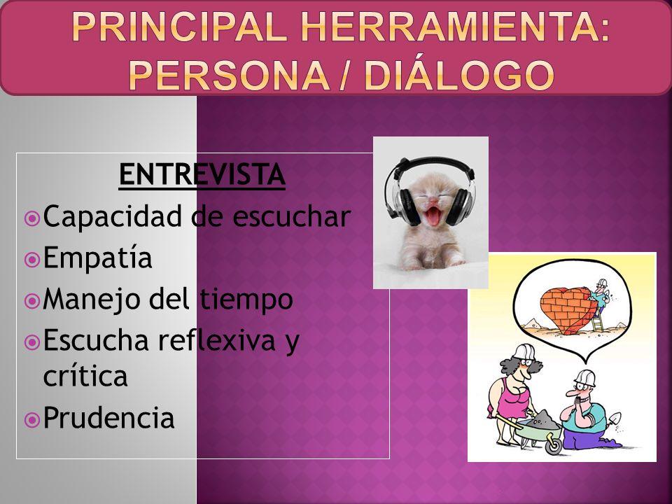 PRINCIPAL HERRAMIENTA: PERSONA / DIÁLOGO