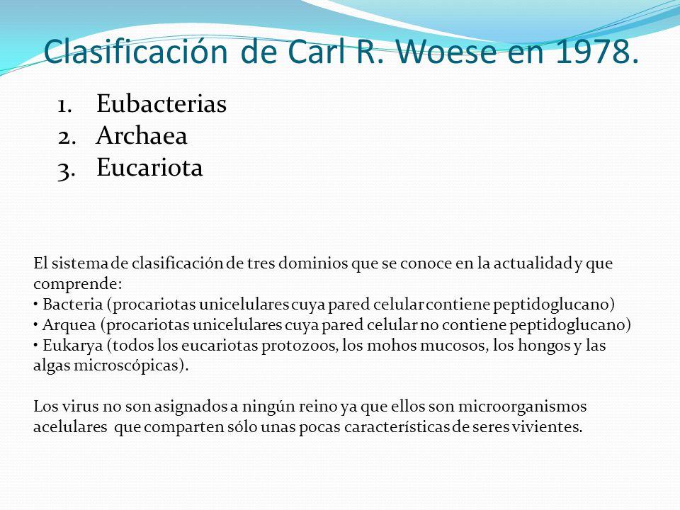 Clasificación de Carl R. Woese en 1978.