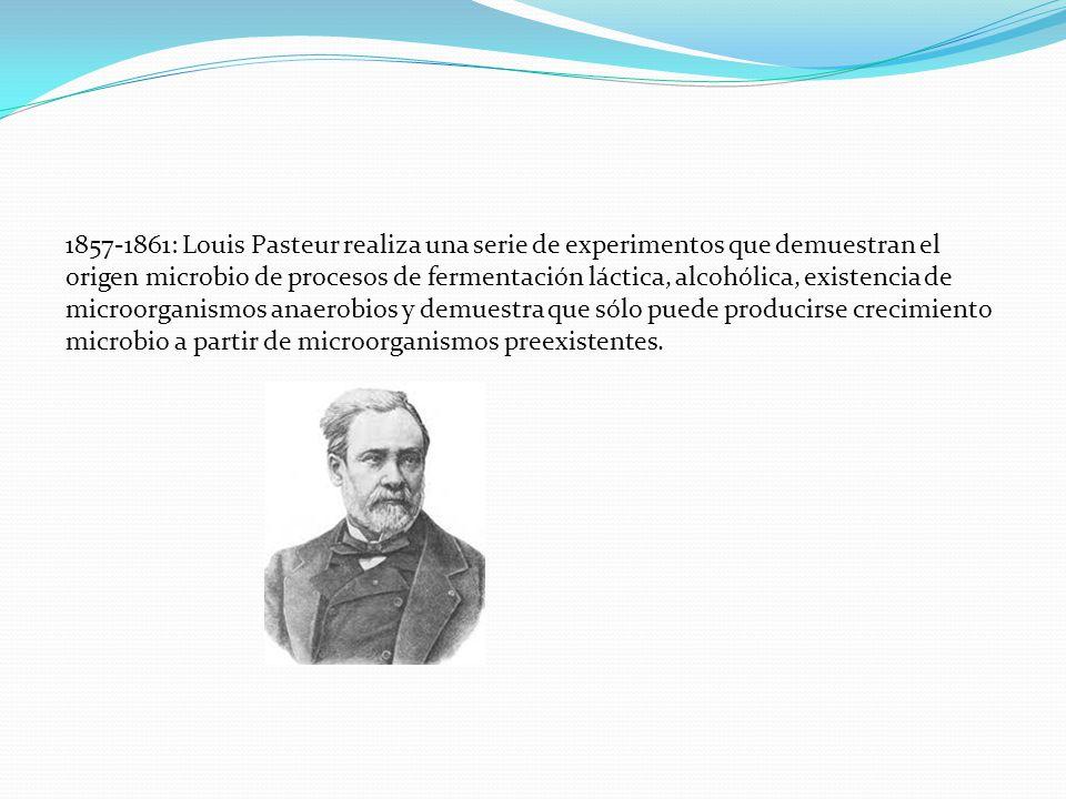 1857-1861: Louis Pasteur realiza una serie de experimentos que demuestran el origen microbio de procesos de fermentación láctica, alcohólica, existencia de microorganismos anaerobios y demuestra que sólo puede producirse crecimiento microbio a partir de microorganismos preexistentes.