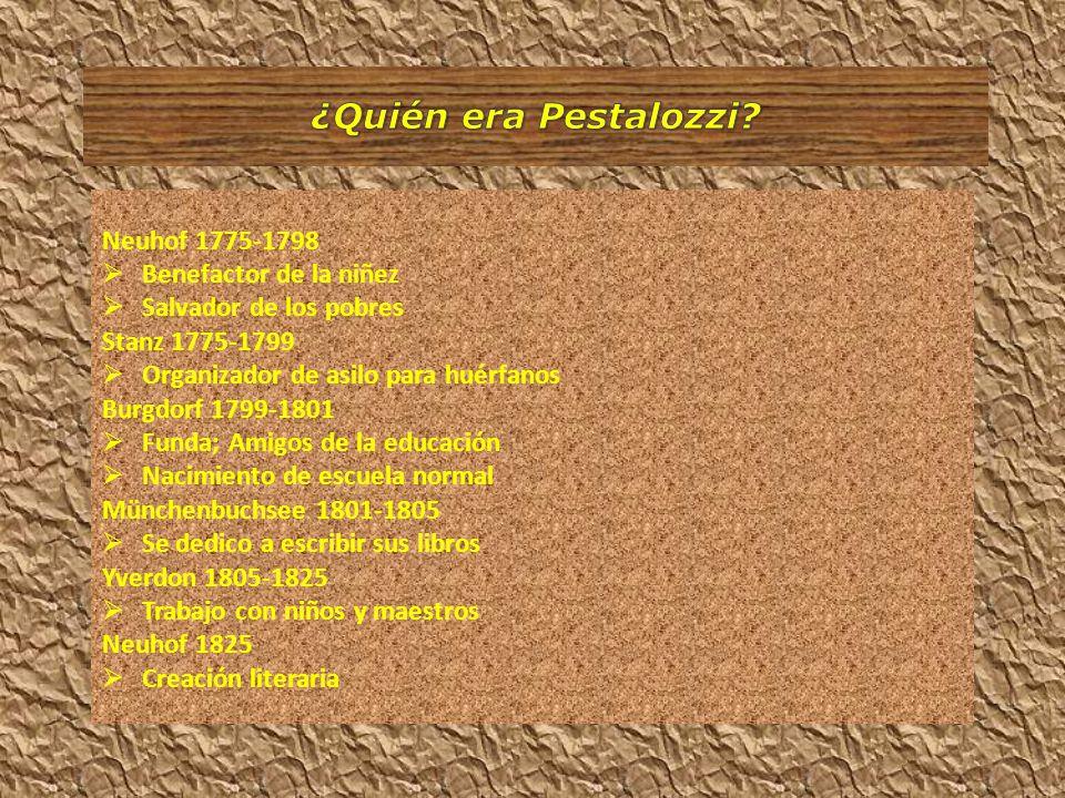 ¿Quién era Pestalozzi Neuhof 1775-1798 Benefactor de la niñez