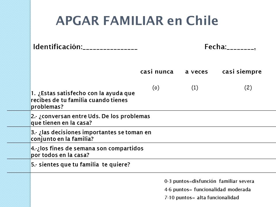 APGAR FAMILIAR en Chile