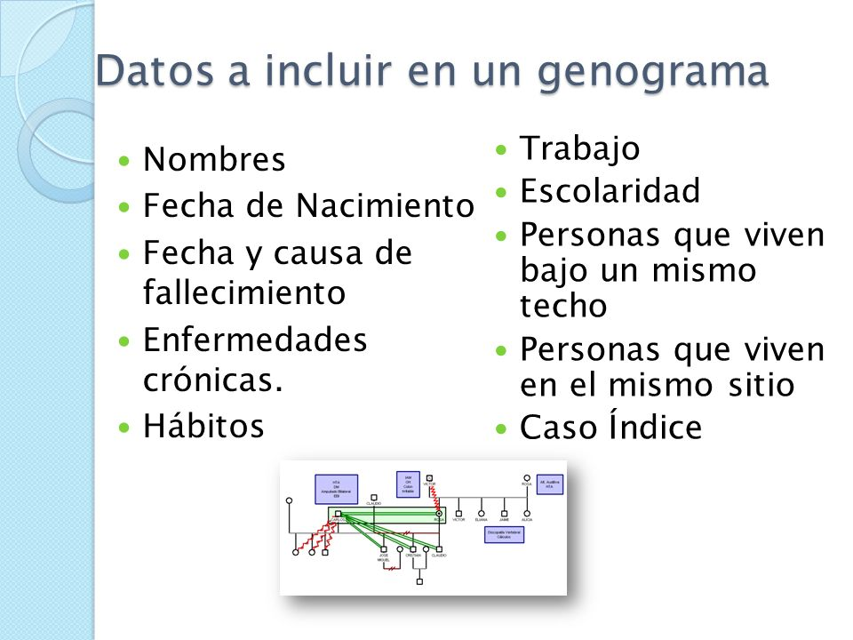 Datos a incluir en un genograma