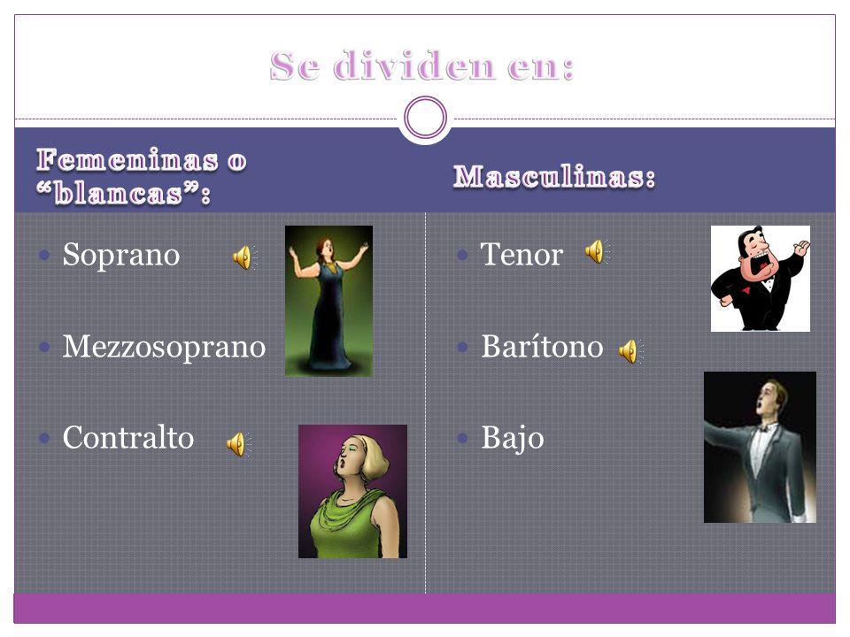 Se dividen en: Soprano Mezzosoprano Contralto Tenor Barítono Bajo
