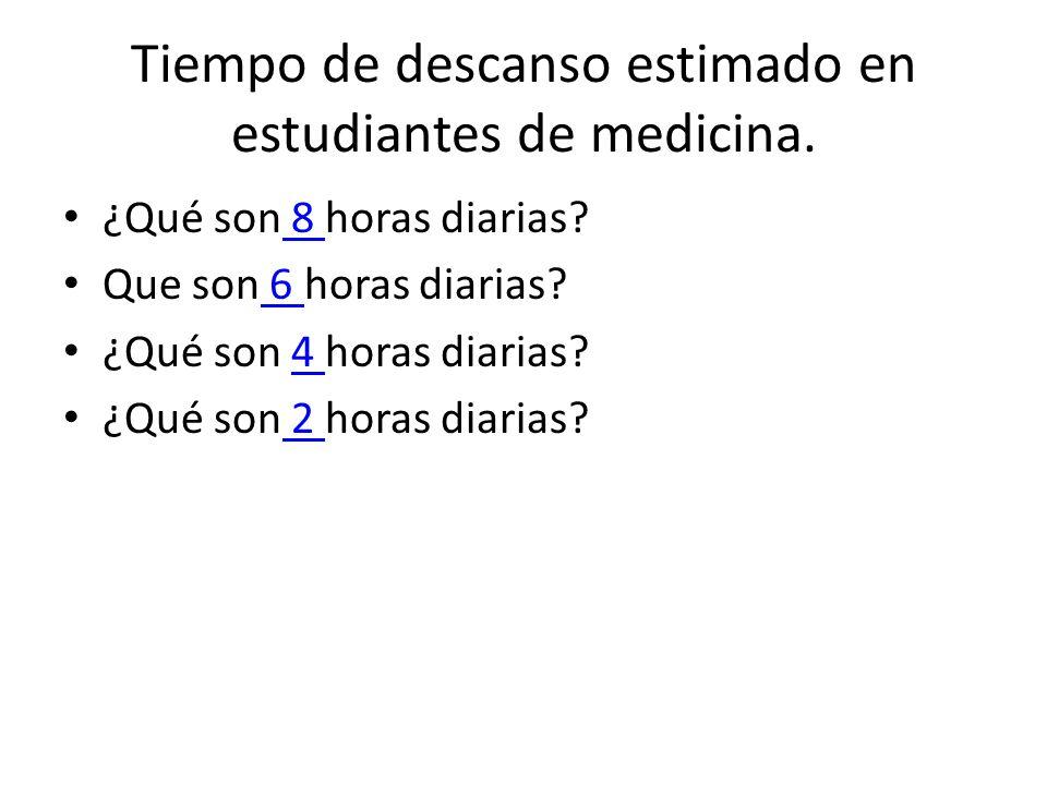 Tiempo de descanso estimado en estudiantes de medicina.