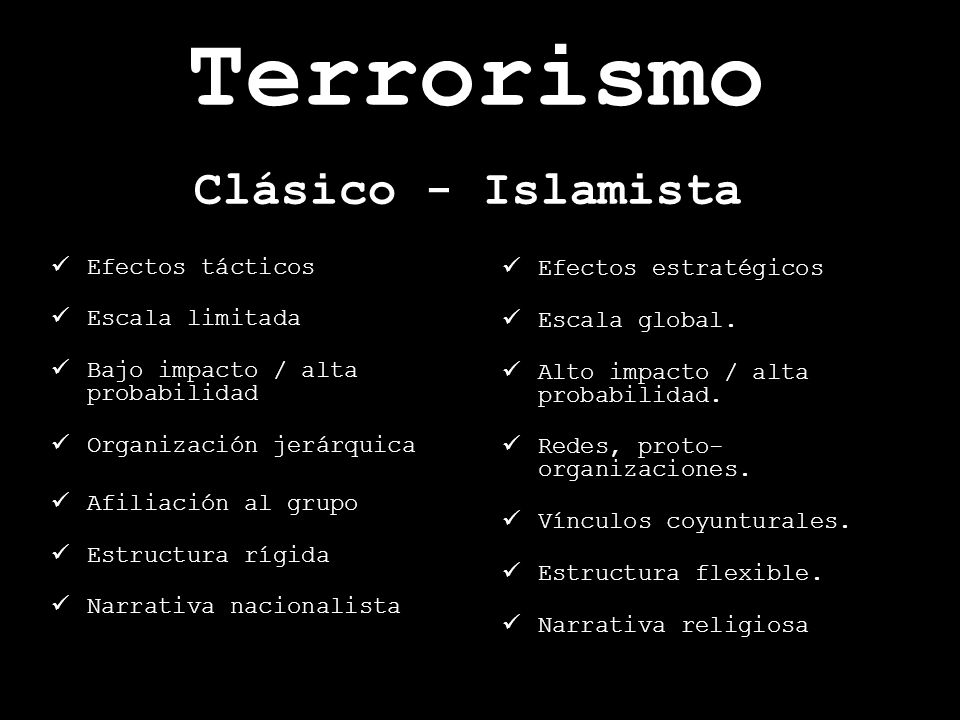 Terrorismo Clásico - Islamista Efectos tácticos Efectos estratégicos
