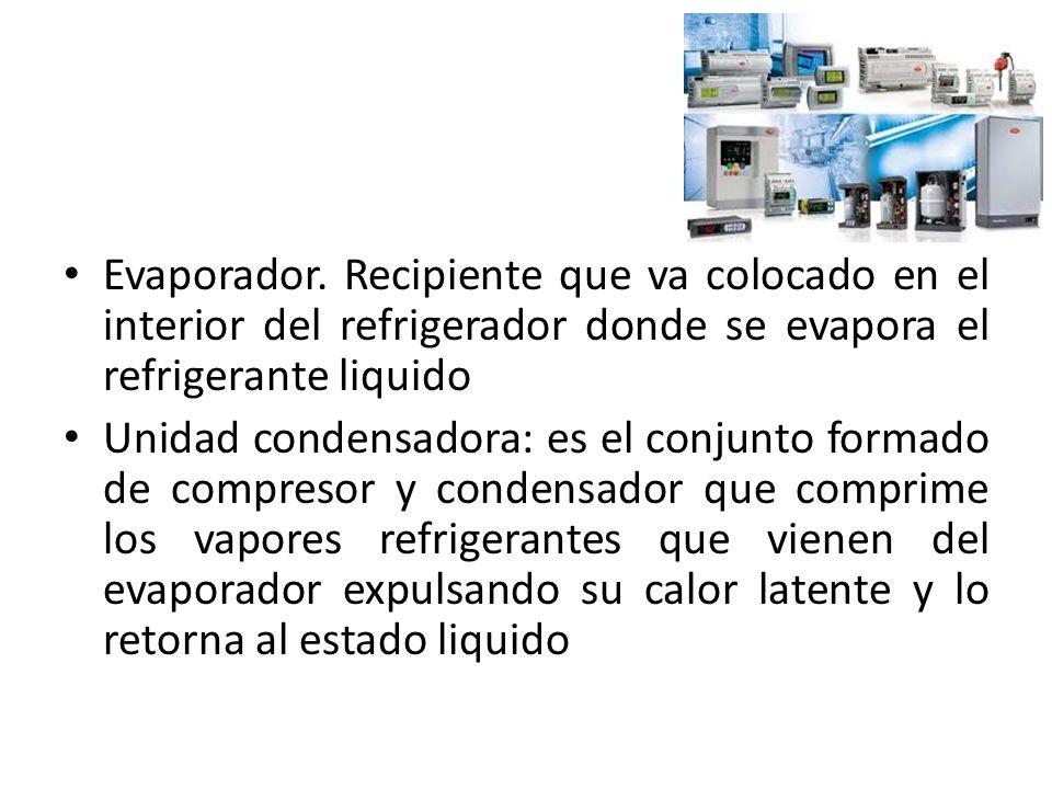 Evaporador. Recipiente que va colocado en el interior del refrigerador donde se evapora el refrigerante liquido