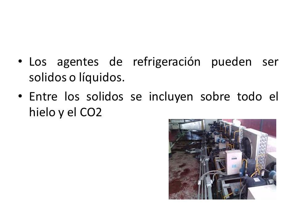 Los agentes de refrigeración pueden ser solidos o líquidos.