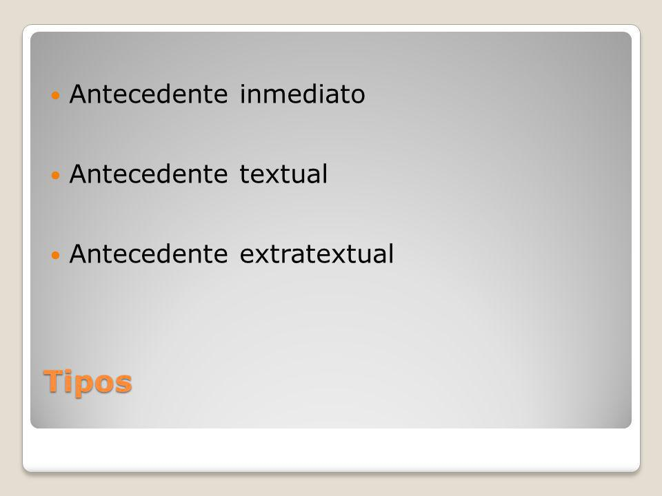Tipos Antecedente inmediato Antecedente textual