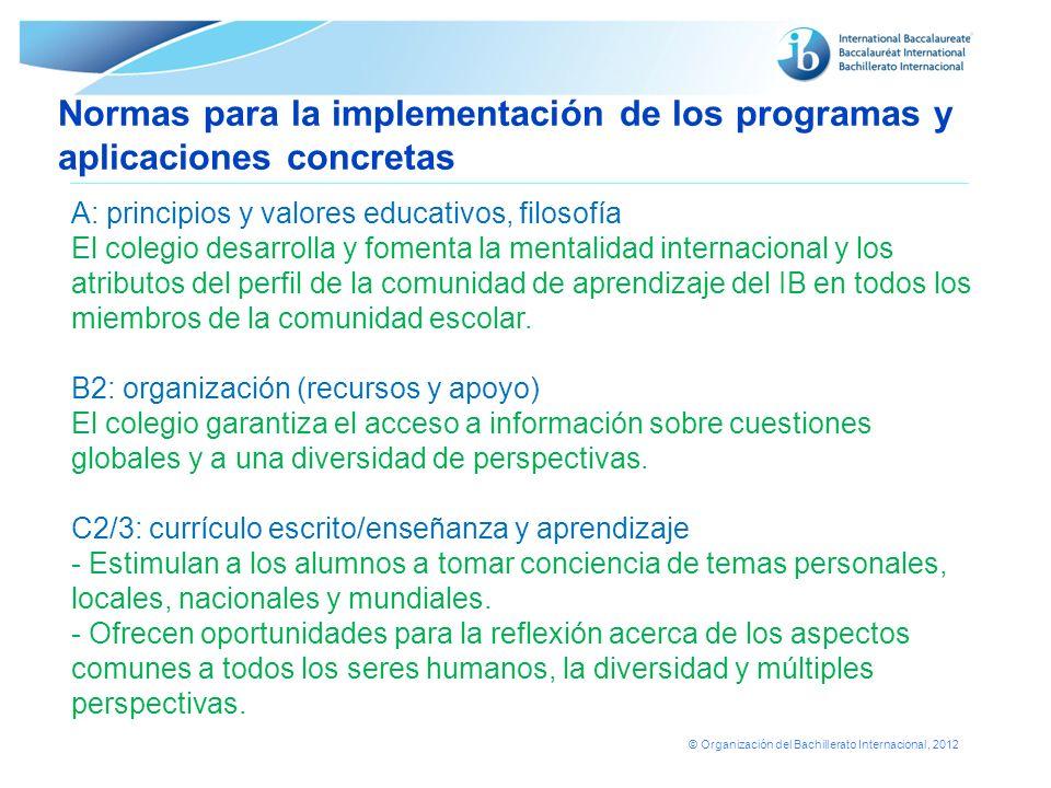Normas para la implementación de los programas y aplicaciones concretas