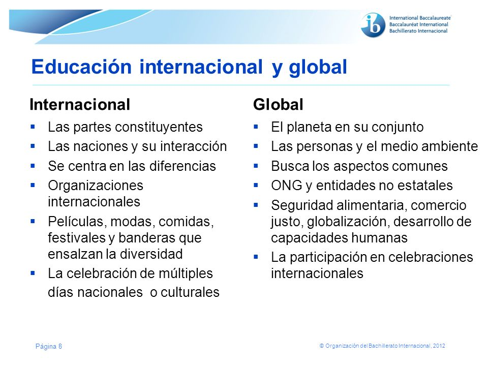Educación internacional y global
