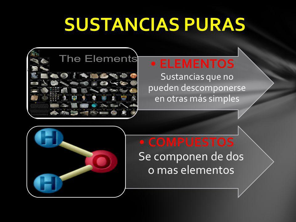 SUSTANCIAS PURAS ELEMENTOS Sustancias que no pueden descomponerse en otras más simples.