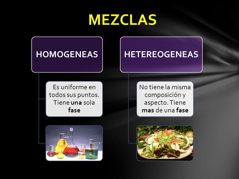 MEZCLAS HETEREOGENEAS HOMOGENEAS