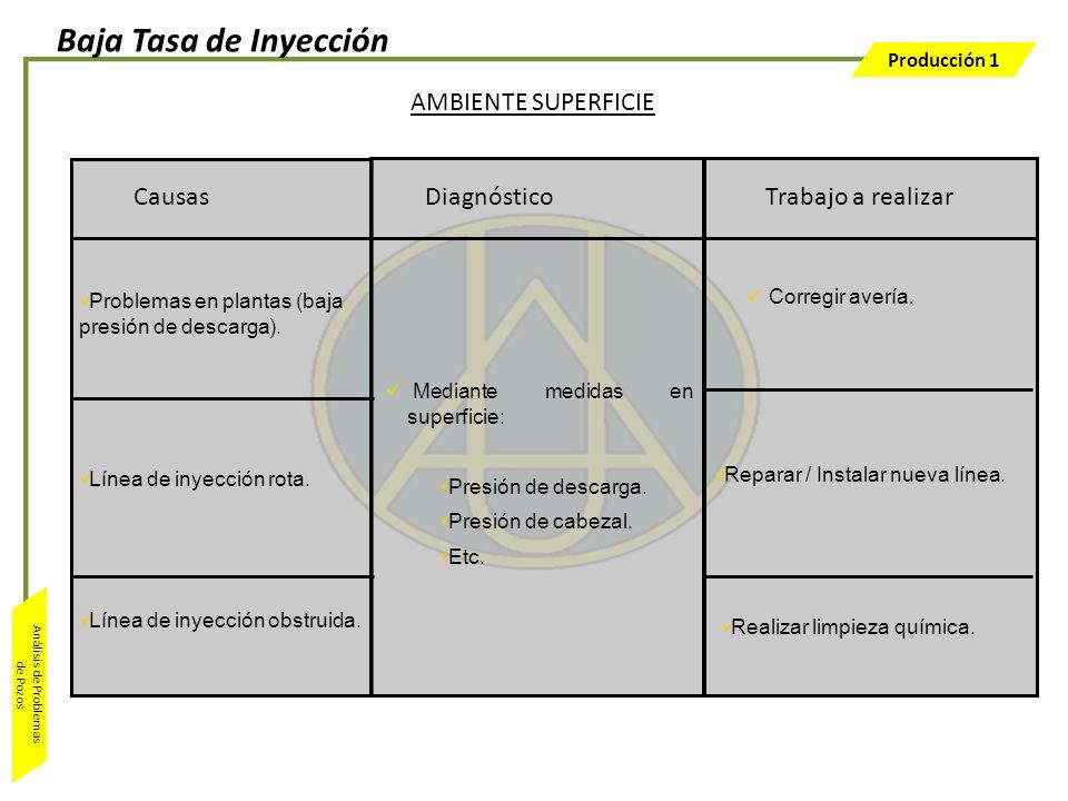 Baja Tasa de Inyección AMBIENTE SUPERFICIE Causas Diagnóstico