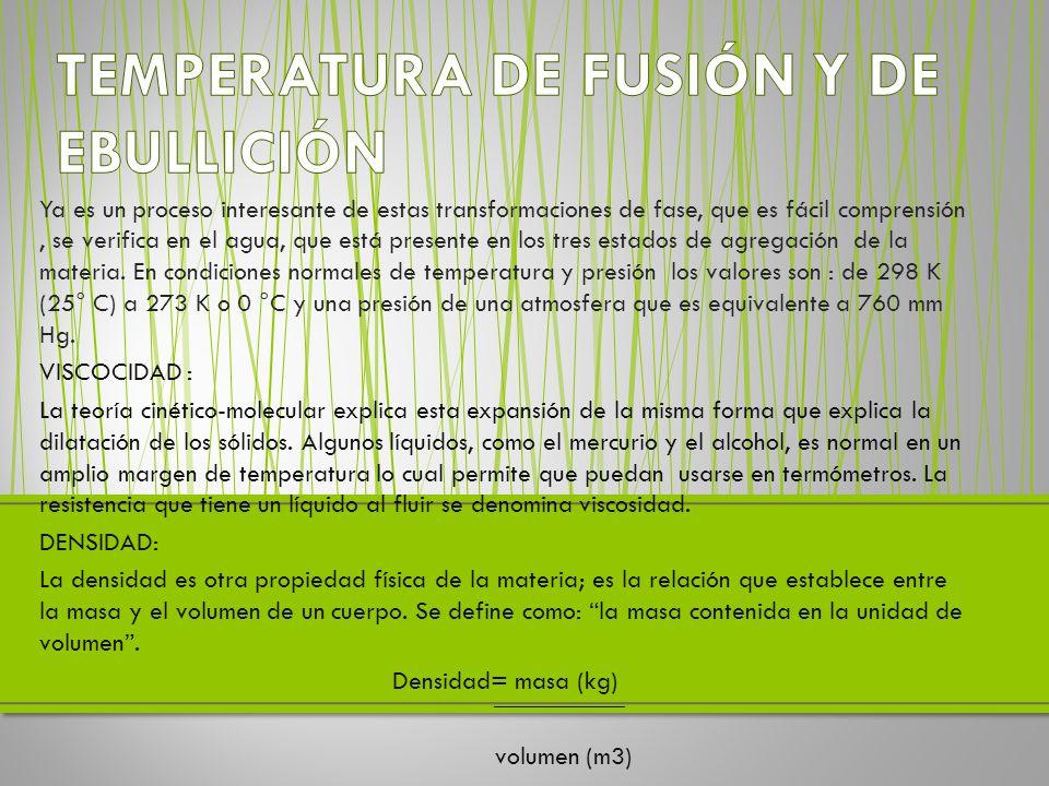 TEMPERATURA DE FUSIÓN Y DE EBULLICIÓN