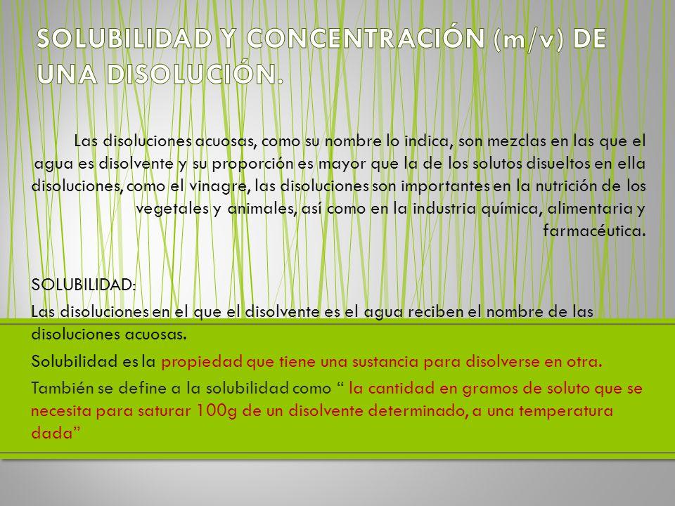 SOLUBILIDAD Y CONCENTRACIÓN (m/v) DE UNA DISOLUCIÓN.