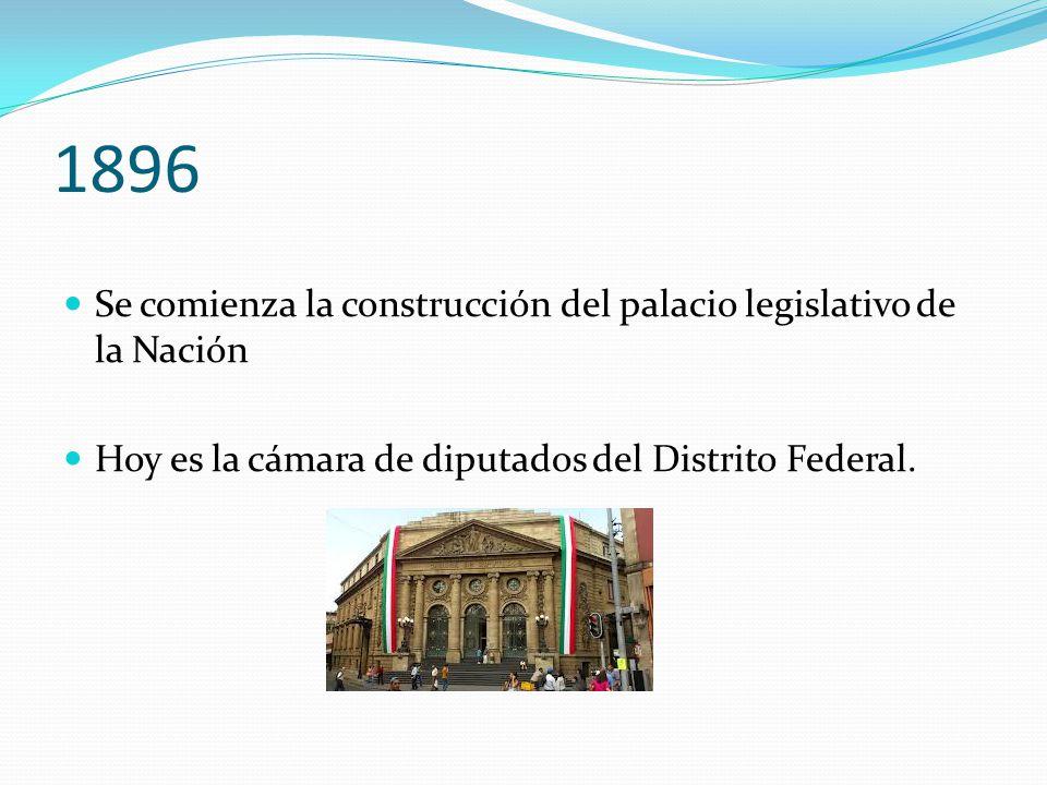1896 Se comienza la construcción del palacio legislativo de la Nación