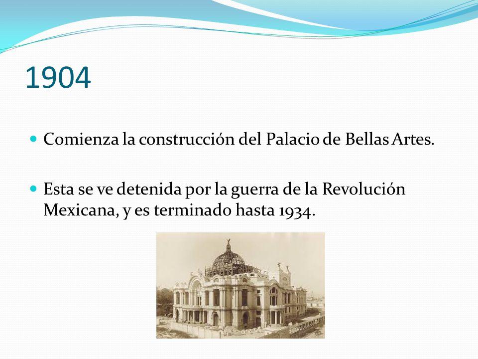 1904 Comienza la construcción del Palacio de Bellas Artes.