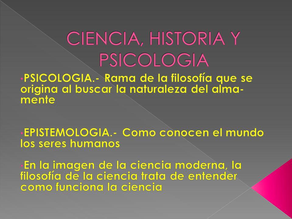 CIENCIA, HISTORIA Y PSICOLOGIA