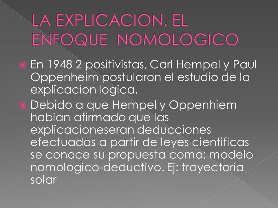 LA EXPLICACION, EL ENFOQUE NOMOLOGICO