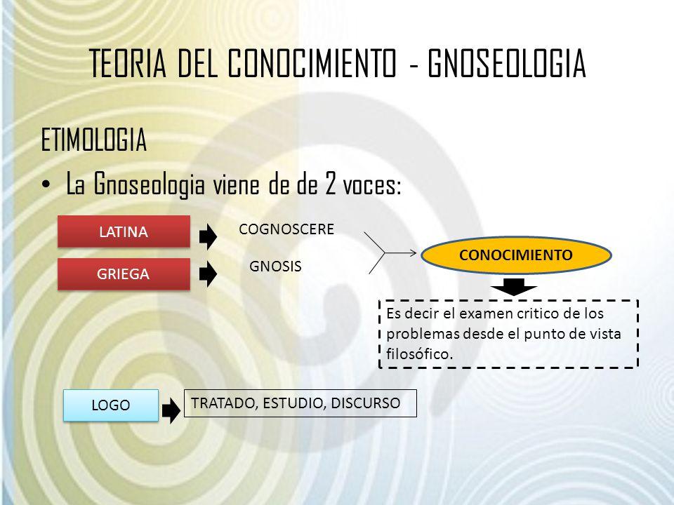 TEORIA DEL CONOCIMIENTO - GNOSEOLOGIA