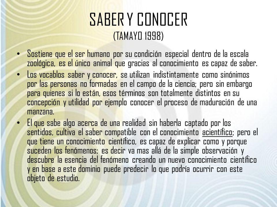 SABER Y CONOCER (TAMAYO 1998)