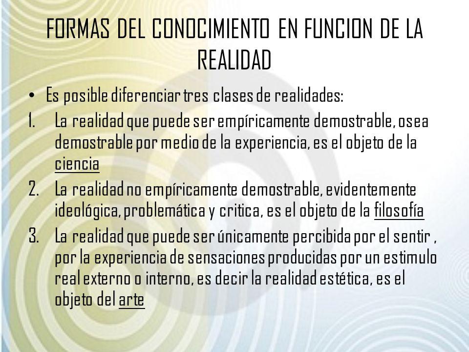 FORMAS DEL CONOCIMIENTO EN FUNCION DE LA REALIDAD