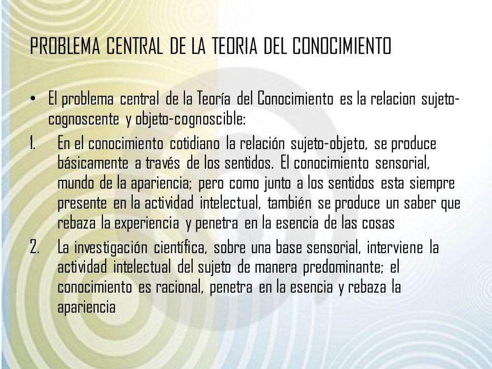 PROBLEMA CENTRAL DE LA TEORIA DEL CONOCIMIENTO