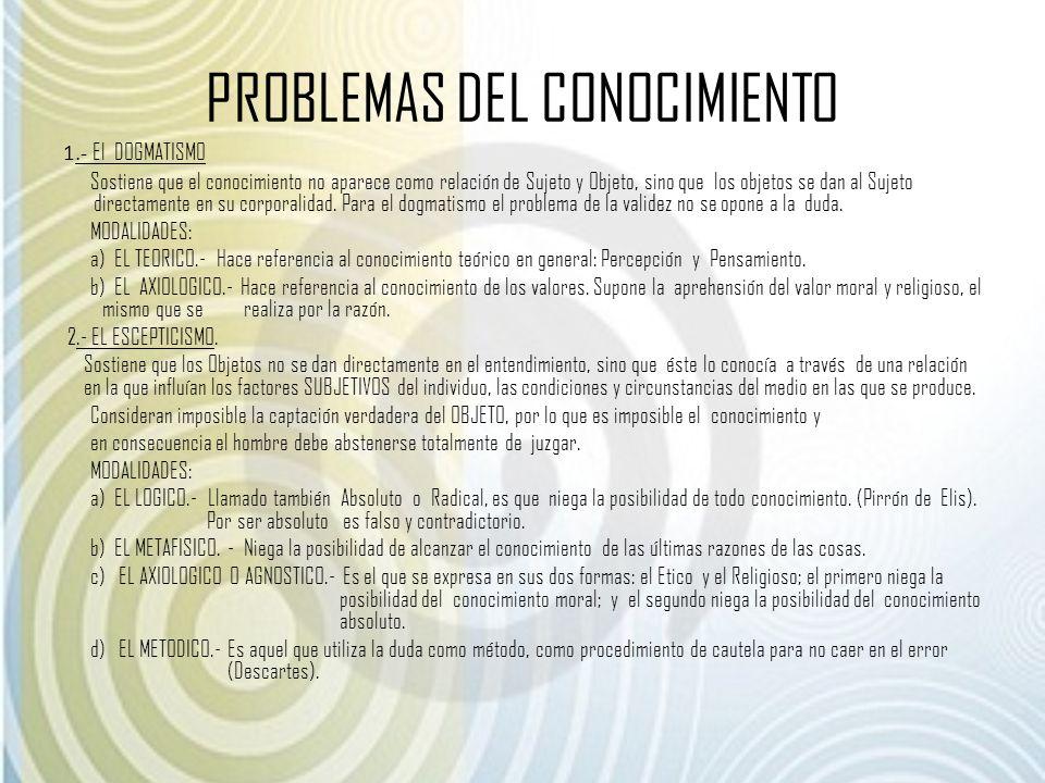 PROBLEMAS DEL CONOCIMIENTO