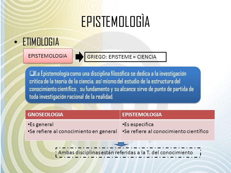 EPISTEMOLOGÌA ETIMOLOGIA