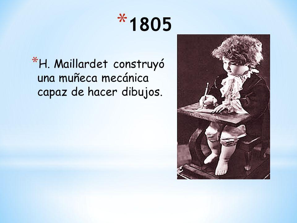 1805 H. Maillardet construyó una muñeca mecánica capaz de hacer dibujos.