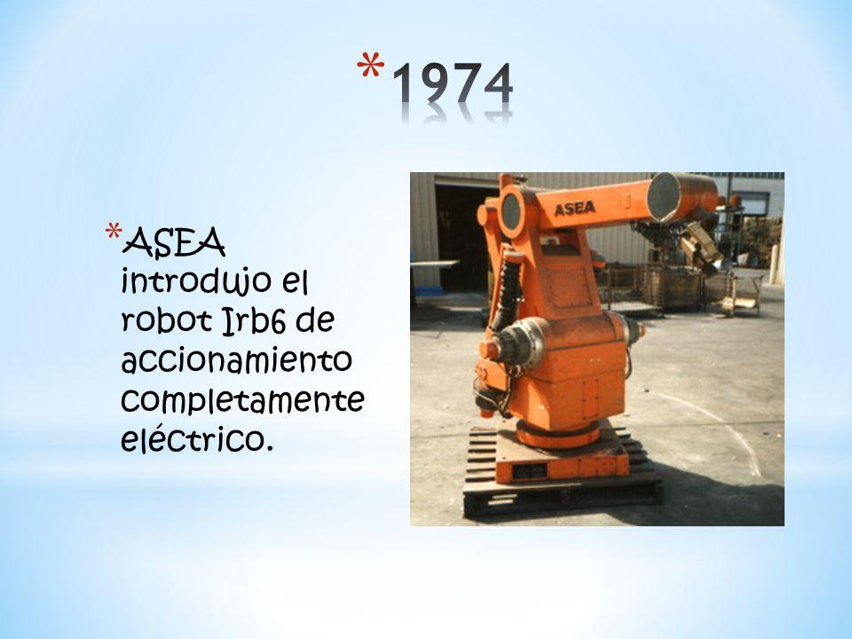 1974 ASEA introdujo el robot Irb6 de accionamiento completamente eléctrico.