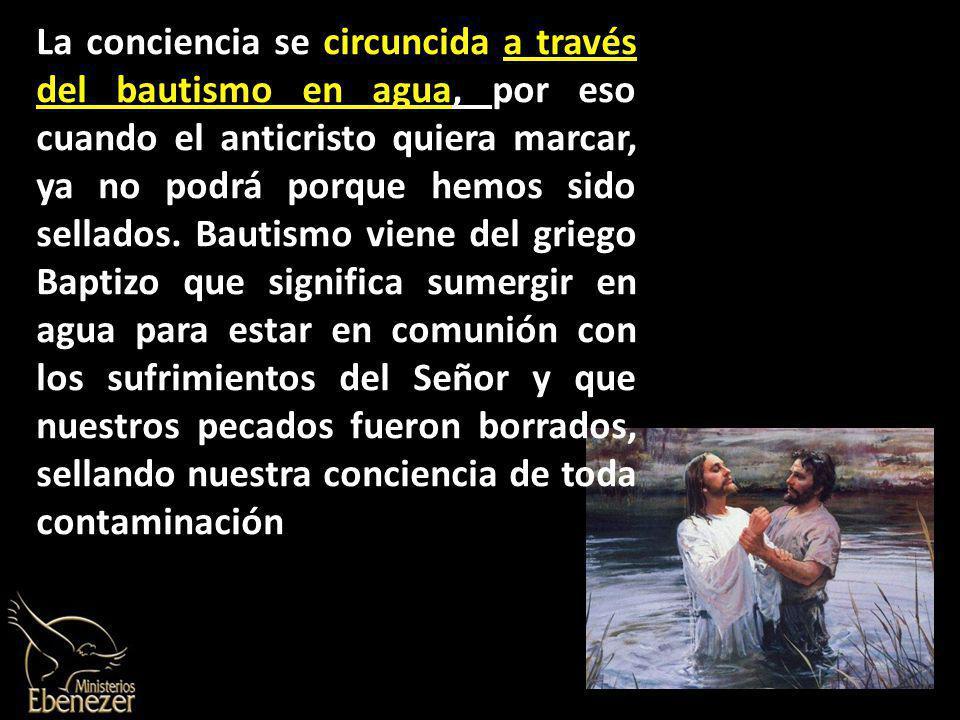 La conciencia se circuncida a través del bautismo en agua, por eso cuando el anticristo quiera marcar, ya no podrá porque hemos sido sellados.
