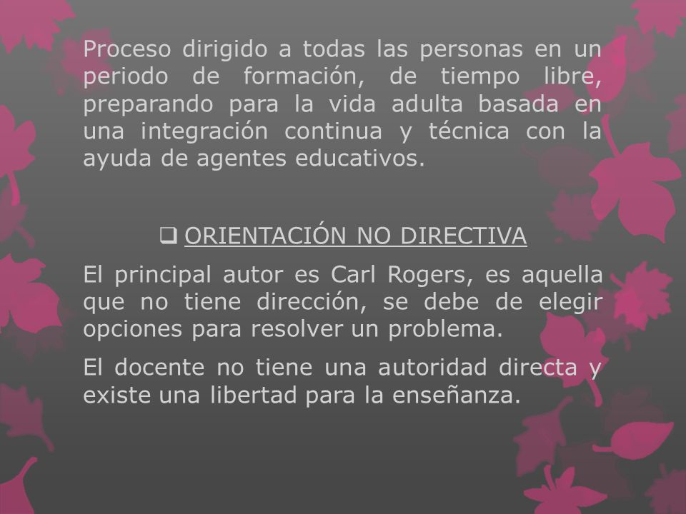 ORIENTACIÓN NO DIRECTIVA