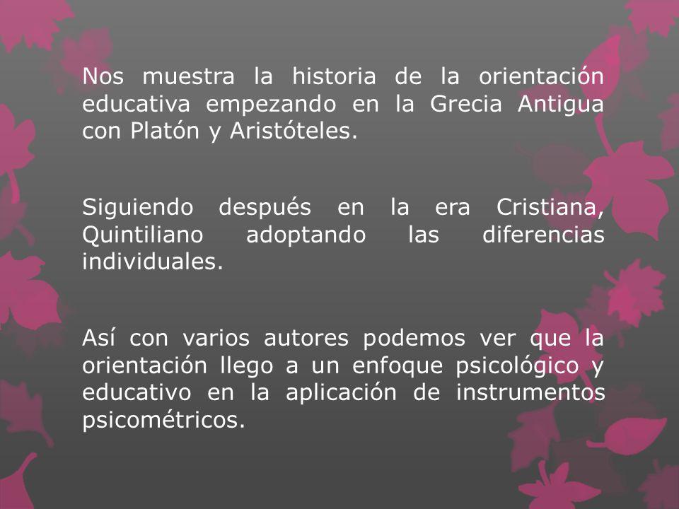 Nos muestra la historia de la orientación educativa empezando en la Grecia Antigua con Platón y Aristóteles.