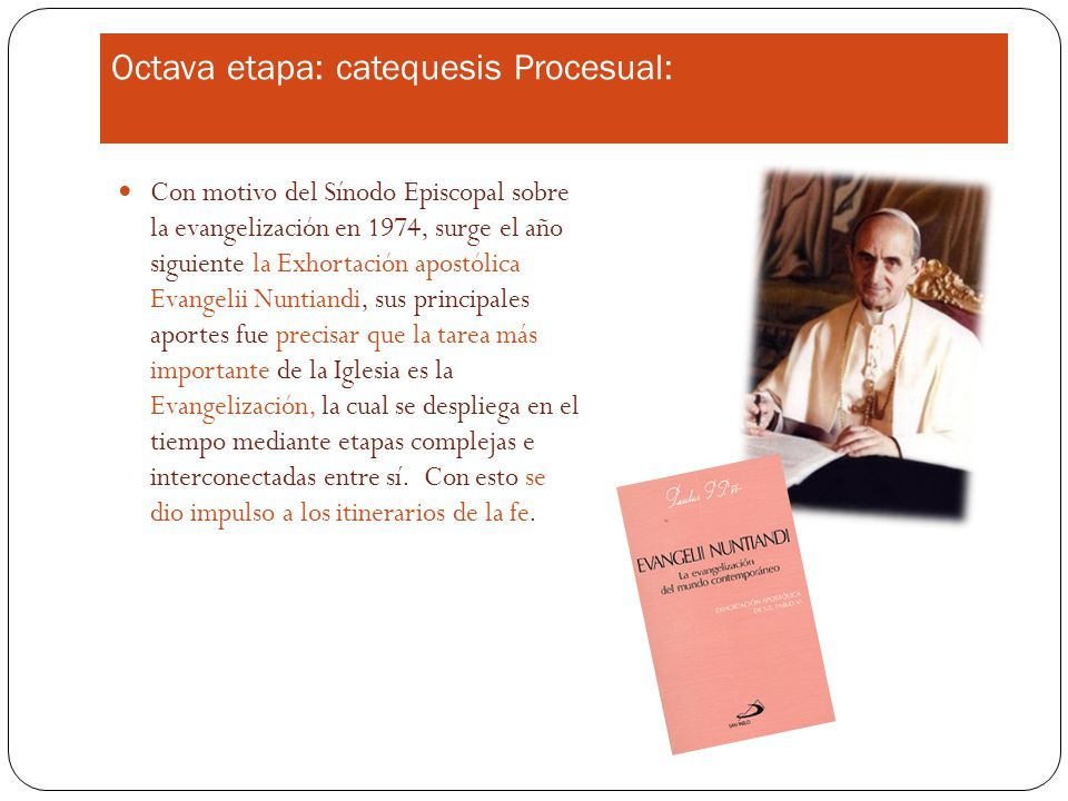 Octava etapa: catequesis Procesual: