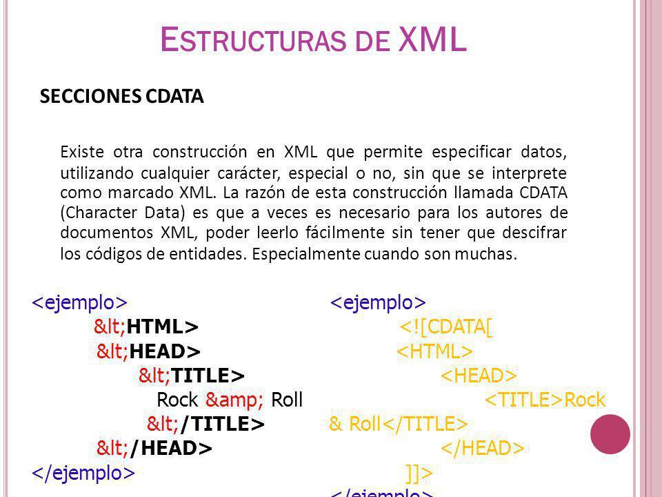Estructuras de XML SECCIONES CDATA