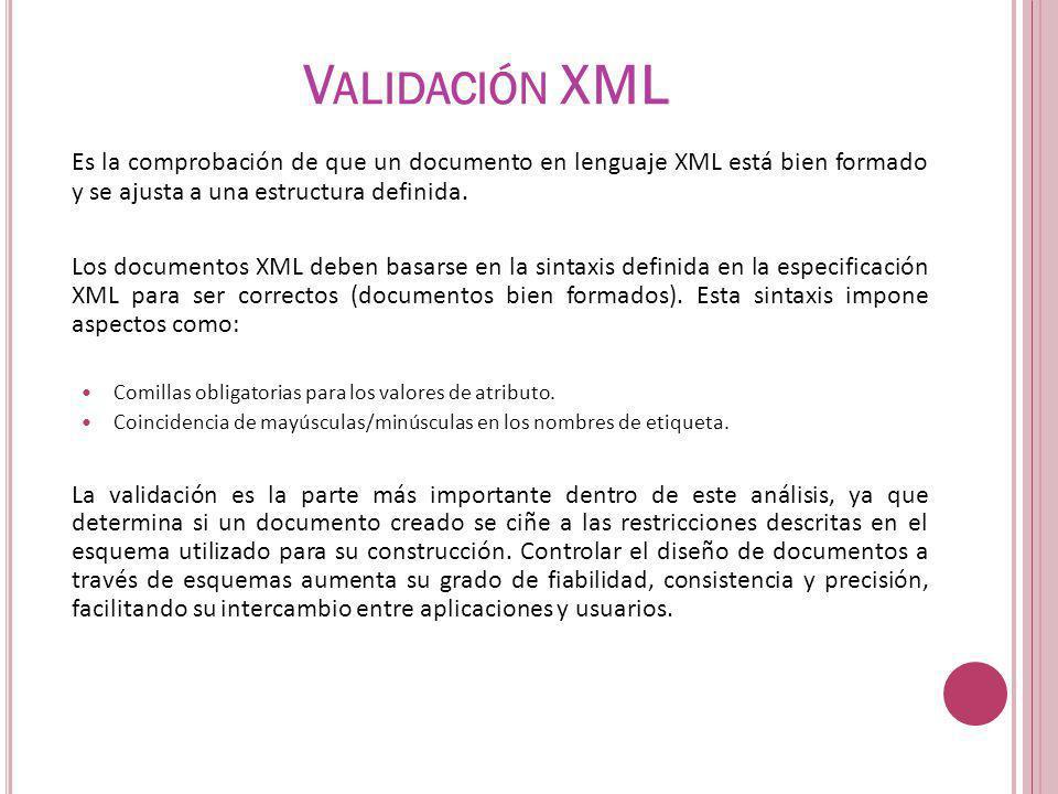 Validación XML Es la comprobación de que un documento en lenguaje XML está bien formado y se ajusta a una estructura definida.
