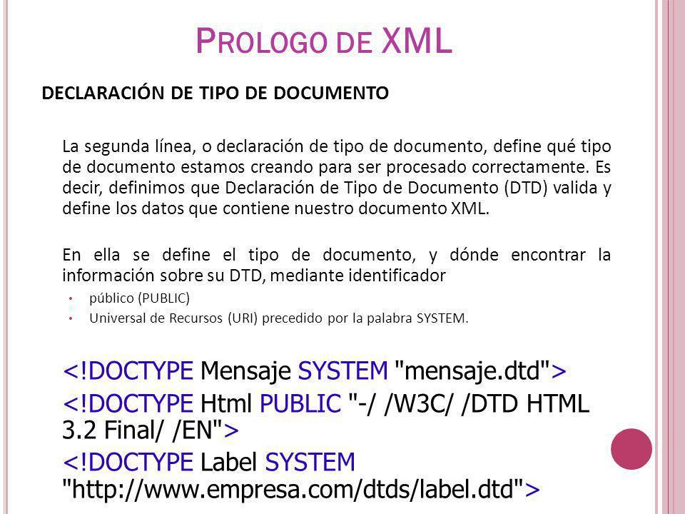 Prologo de XML <!DOCTYPE Mensaje SYSTEM mensaje.dtd >