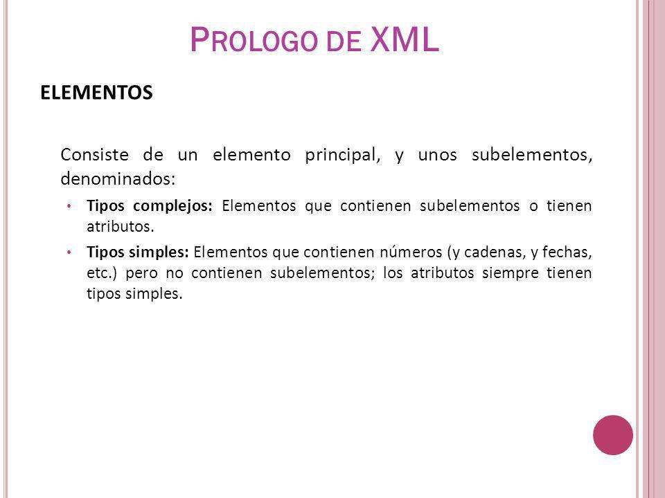 Prologo de XML ELEMENTOS