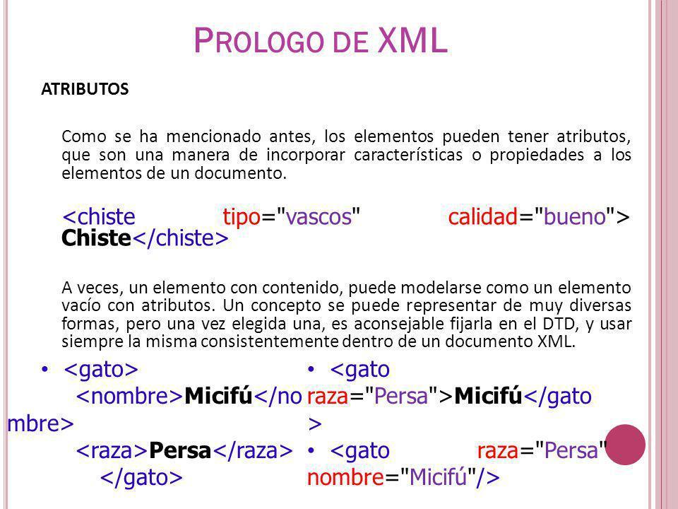 Prologo de XML <gato>