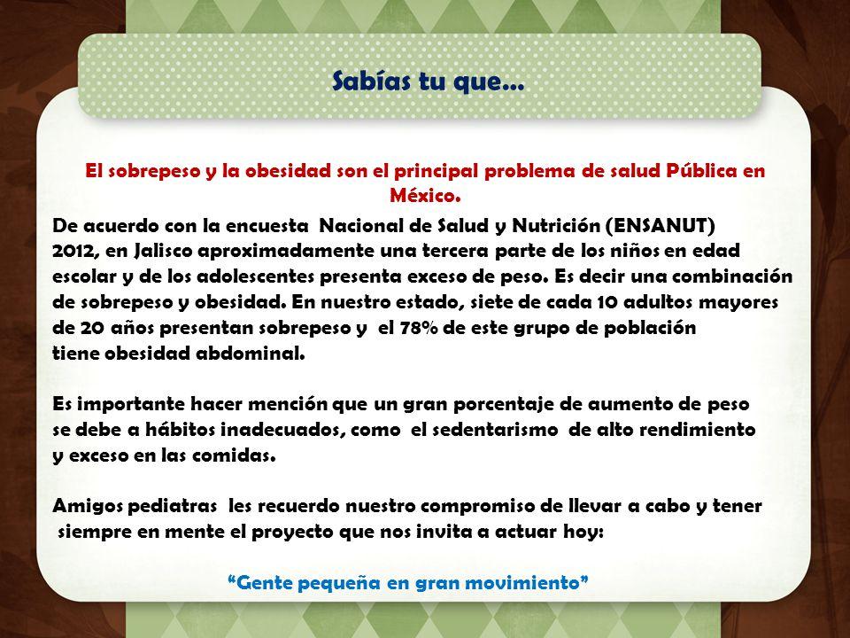 Sabías tu que… El sobrepeso y la obesidad son el principal problema de salud Pública en México.