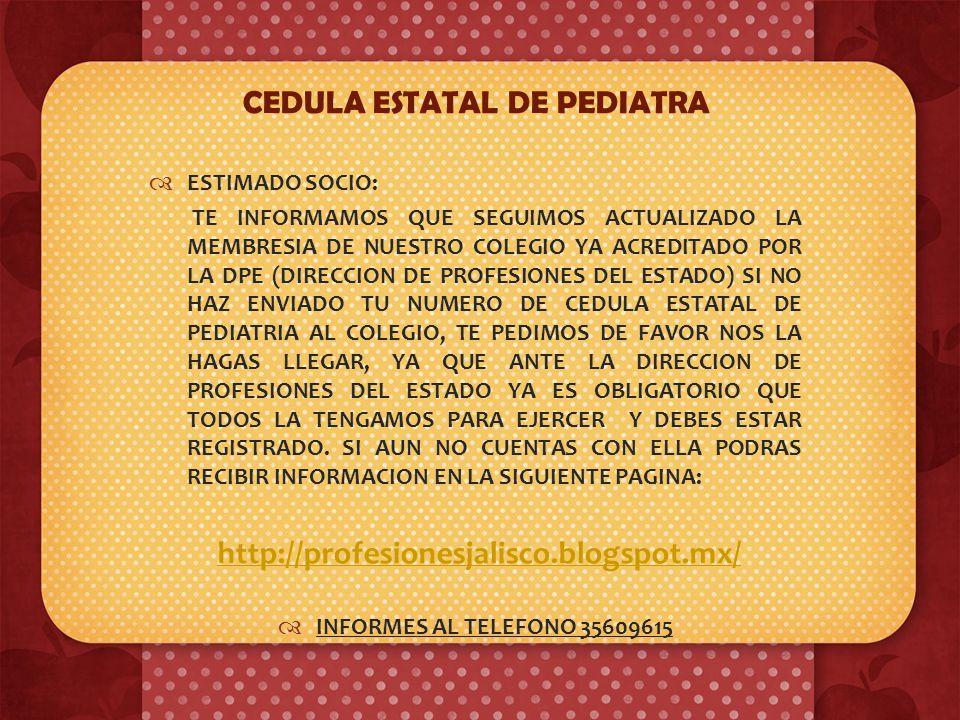 CEDULA ESTATAL DE PEDIATRA
