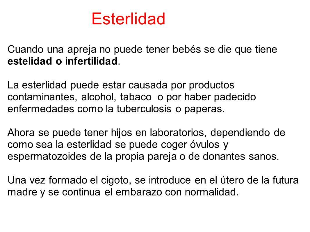 Esterlidad Cuando una apreja no puede tener bebés se die que tiene estelidad o infertilidad.