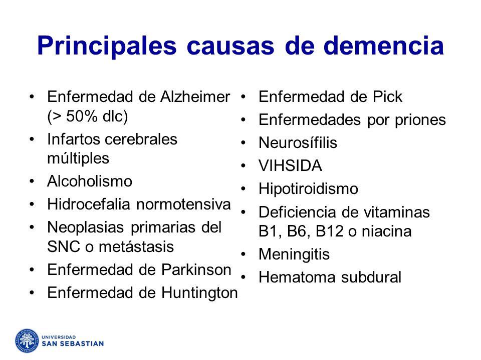 Principales causas de demencia