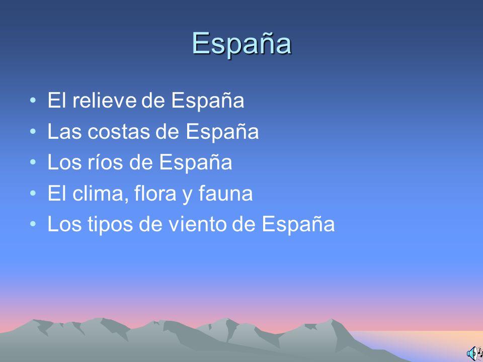 España El relieve de España Las costas de España Los ríos de España