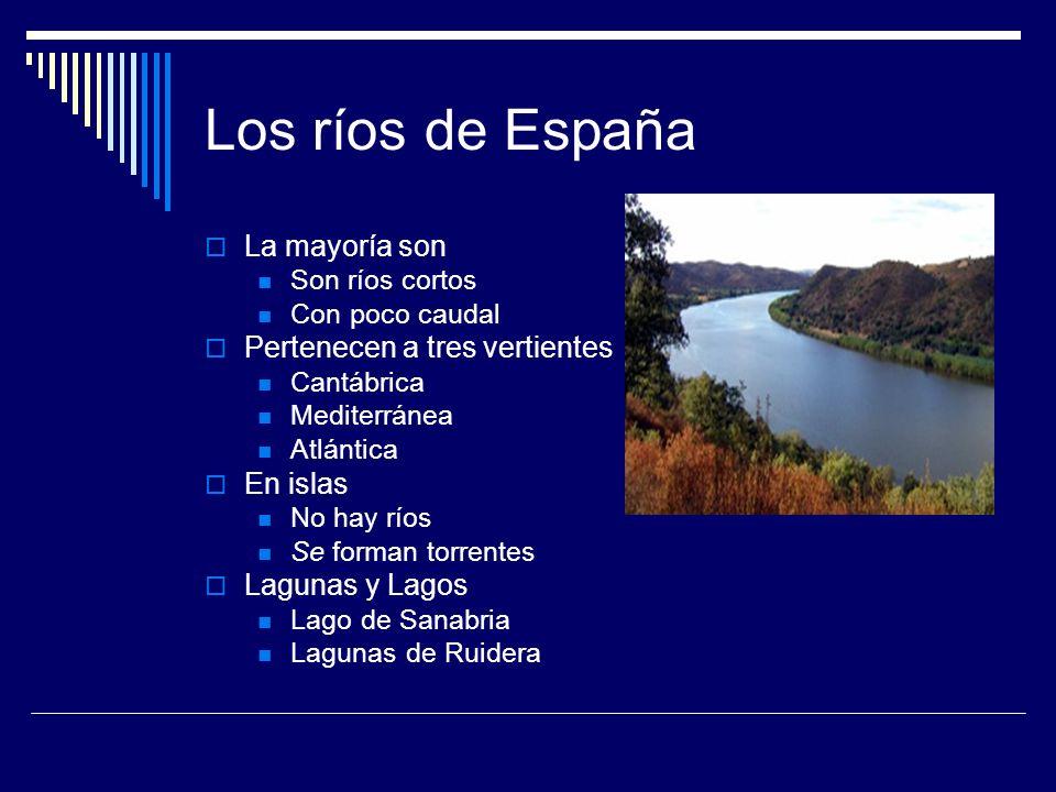 Los ríos de España La mayoría son Pertenecen a tres vertientes