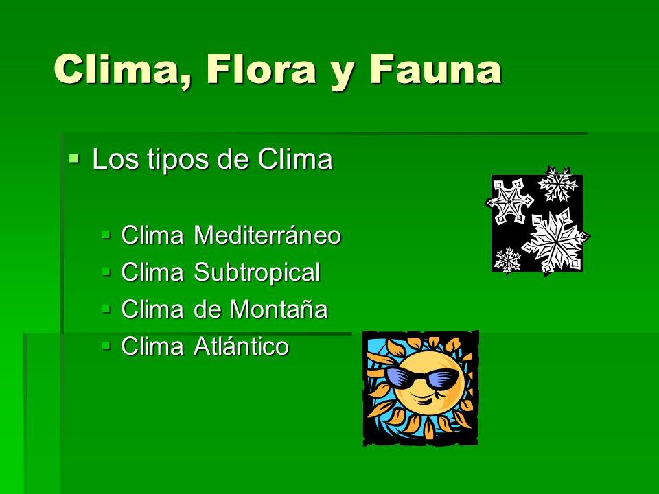 Clima, Flora y Fauna Los tipos de Clima Clima Mediterráneo